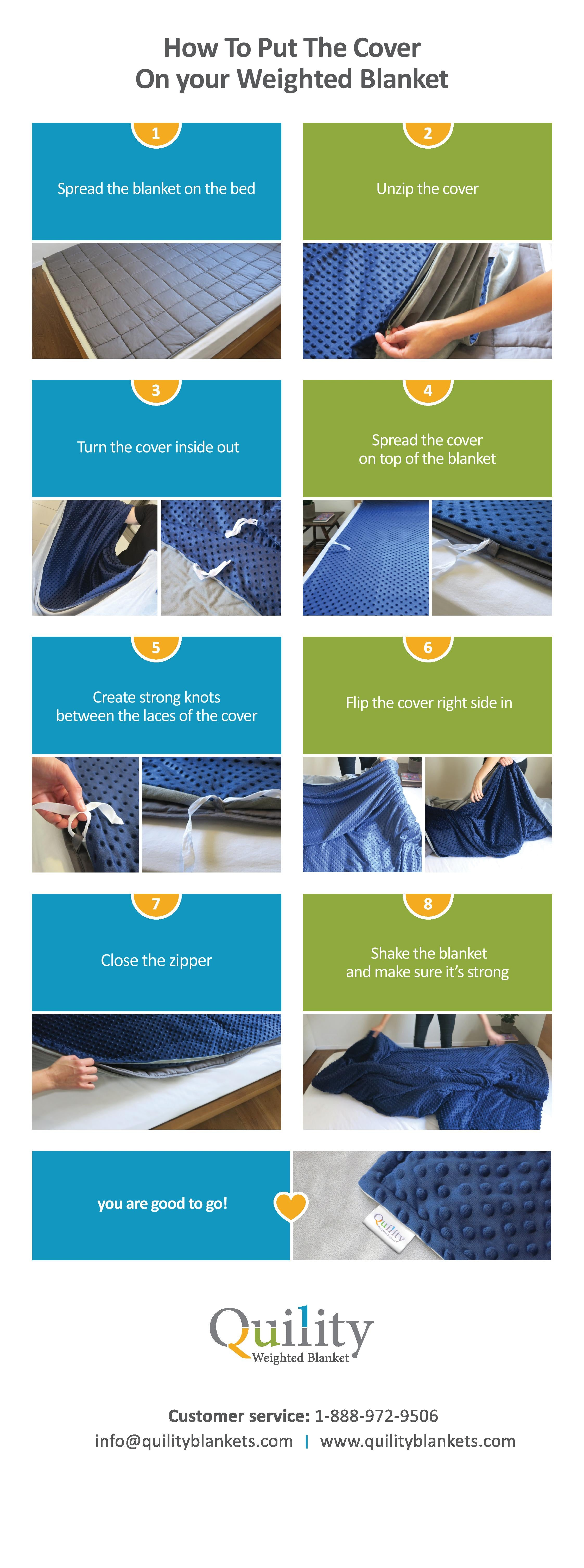 how to put a cover on a weighted blanket