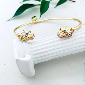 Menagerie - Enamelled Snow Leopard Bangle - Bardot Boho