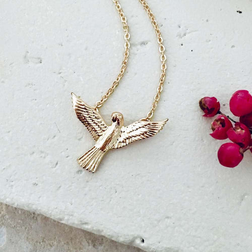 Necklace Gold Short Love Bird Pendant - Bardot Boho