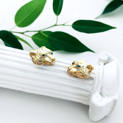 Menagerie - Enamelled Snow Leopard Stud Earrings - Bardot Boho