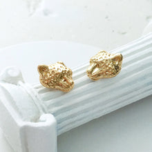 Menagerie - Gold Snow Leopard Stud Earrings - Bardot Boho