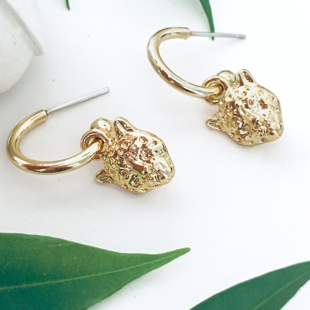 Gold Snow Leopard Hoop Earrings - Bardot Boho