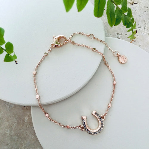 Rose Gold Lucky Horseshoe Reversable Bracelet - Bardot Boho