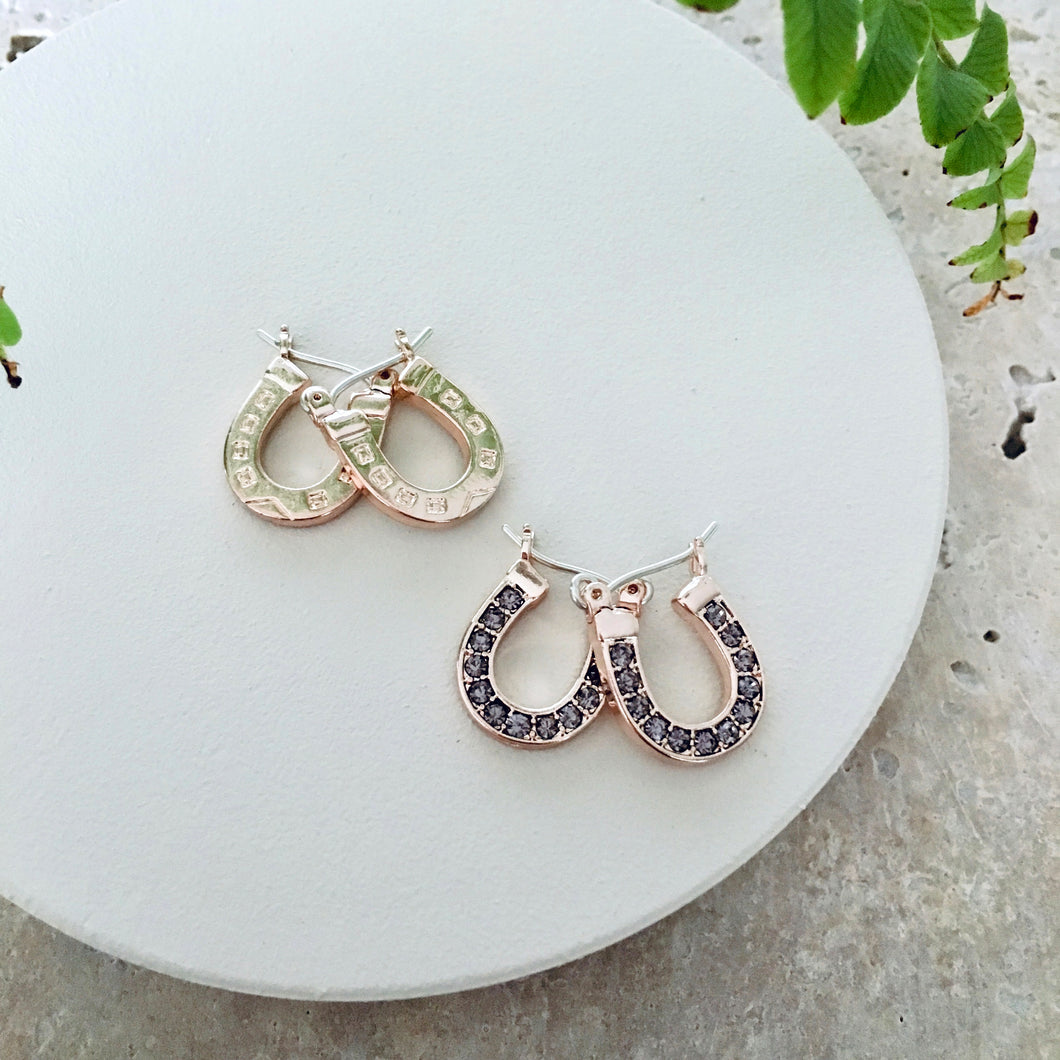 Earrings Rose Gold Lucky Horseshoe Pave Stud Earrings - Bardot Boho