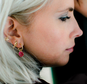 Enamelled Camellia Hoop Earrings - Bardot Boho