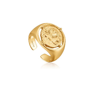 Rings Ania Haie Signet Adjustable Ring 14kt Gold Plating - Bardot Boho