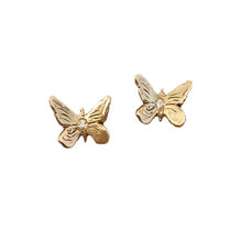 Earrings 10K Hand Carved in Gold Butterfly Earrings with Diamonds - Bardot Boho