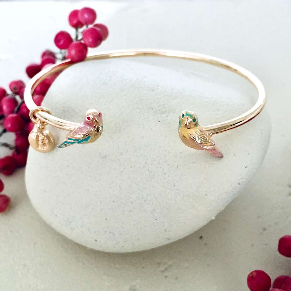 Love Bird Enamelled Bangle - Bardot Boho
