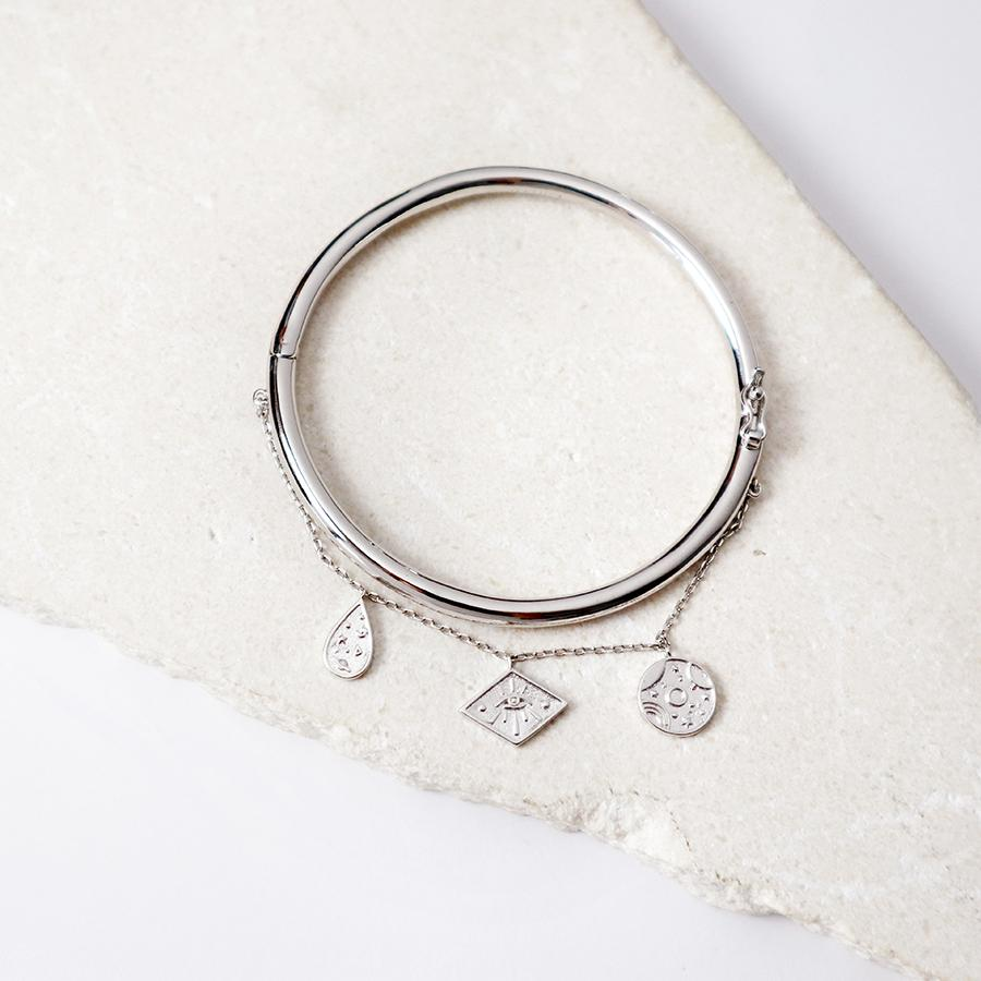 Bracelet Galaxy Charms Silver Bangle - Bardot Boho
