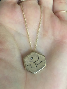 Necklace 10K Gold Zodiac Diamond Pendant - Bardot Boho
