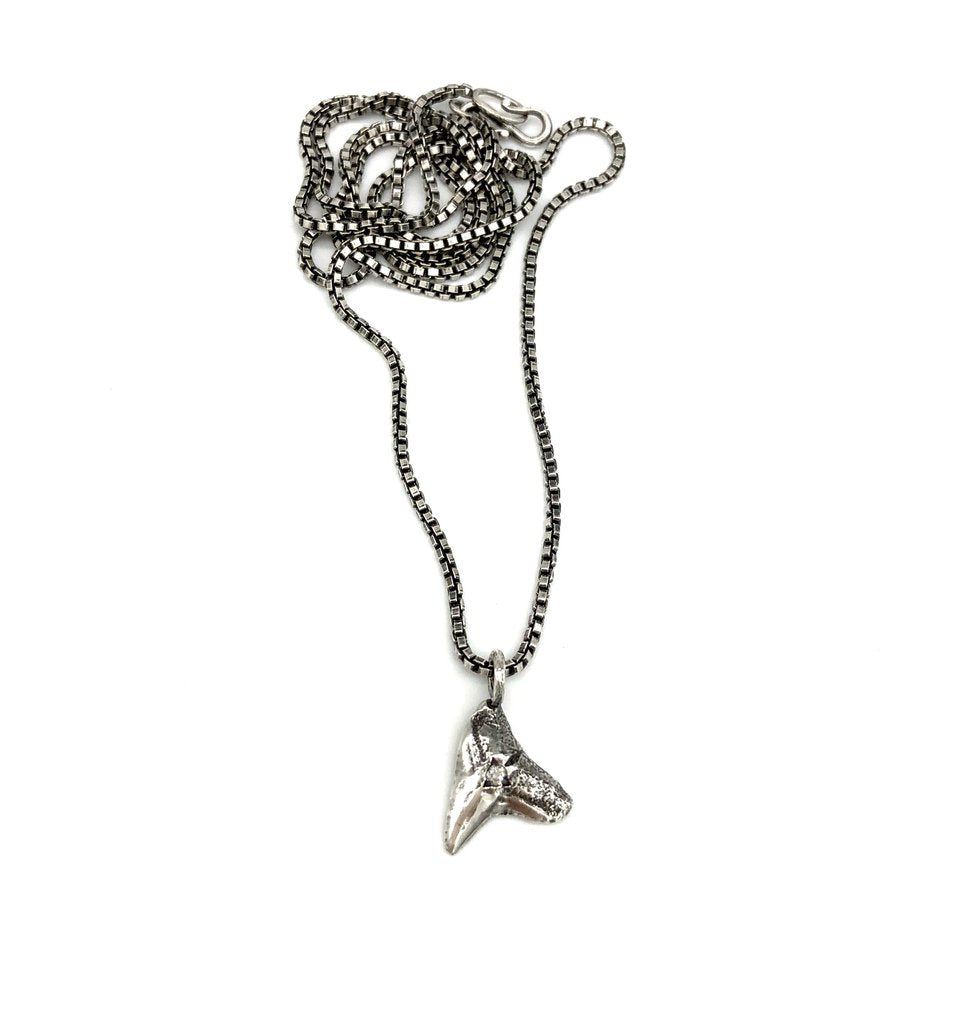 Necklace Men's Shark Tooth Reclaimed Diamond Necklace - Bardot Boho