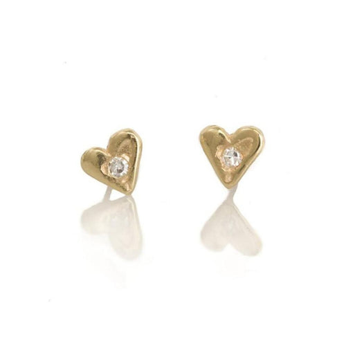 Earrings 10kt Gold Heart Studs with a perfect Diamond in the centre - Bardot Boho