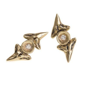 Earrings Double Shark Tooth Studs 10K Gold with Diamonds - Bardot Boho