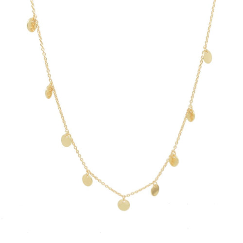9 Disc Necklace in Hammered Gold - Bardot Boho