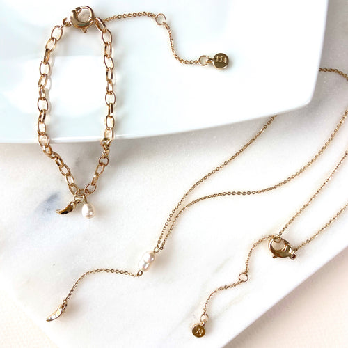 Pearl Claw Short Necklace Premium Gold Plated - Bardot Boho