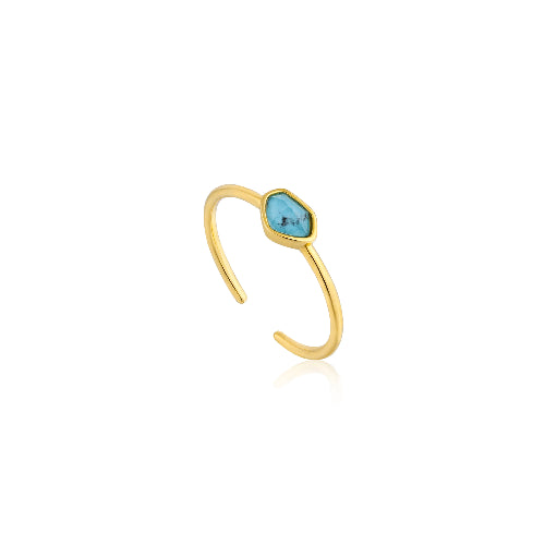 Ania Haie Mineral Glow Turquoise Adjustable Ring 14kt Gold Plated - Bardot Boho