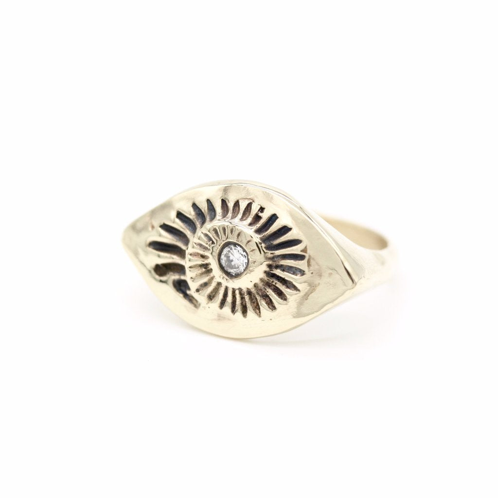 Rings Diamond Ammonite 10kt Gold Signet Ring - Bardot Boho