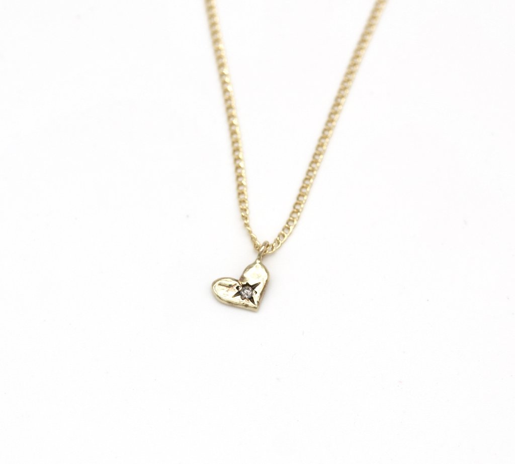 Necklace 10K Yellow Gold Heart Pendant with Diamond - Bardot Boho