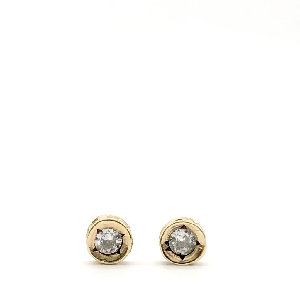 Earrings Diamond Vertabrae10kt Gold Stud Earrings - Bardot Boho