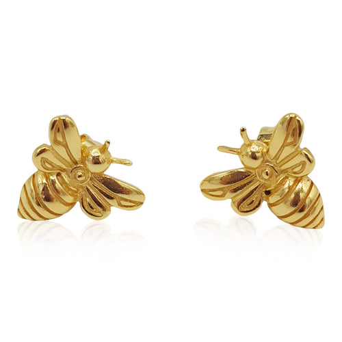 Little Honey Bee Earrings in 20K Satin Gold Plate - Bardot Boho