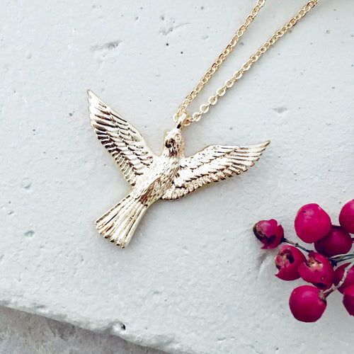 Gold Long Love Bird Pendant - Bardot Boho