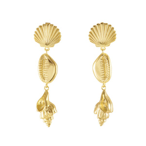 Como Shell 14kt Gold Plated Earrings - Bardot Boho