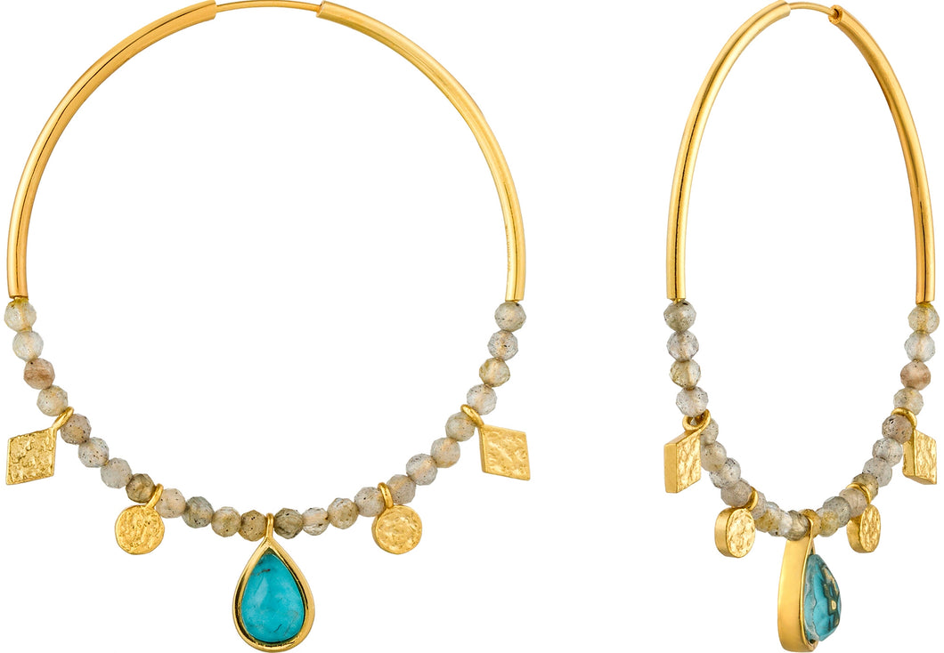 Earrings Ania Haie Turquoise Labradorite Hoop Earrings 925 Silver with 14kt Gold Plating - Bardot Boho