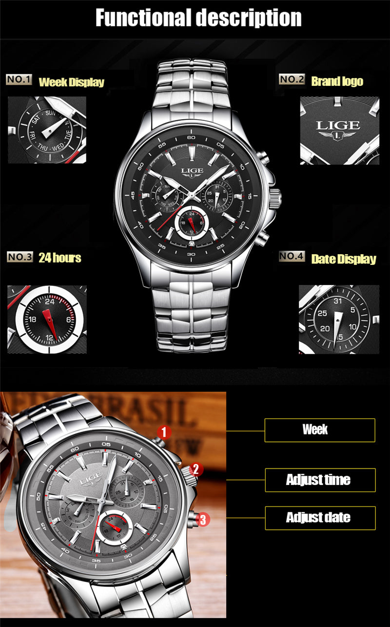 LIGE Luxury Men Waterproof Watches-1