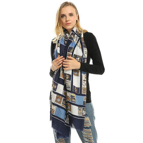 Luxury Winter World Famous Painting Large Silk Satin Shawl Scarf