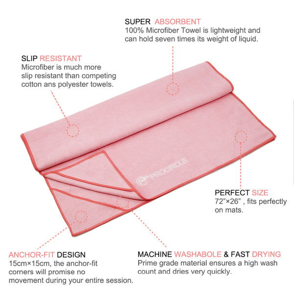 "Microfiber Hot Yoga Towel with 4 Corner Pockets - 24"" x 72"""
