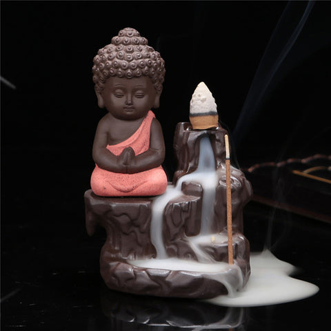 Little Buddha Ceramics Coarse Pottery Incense Burner Smoke Backflow