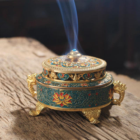 Tibetan Style Painted Enamel Copper Alloy Coil Incense Burner