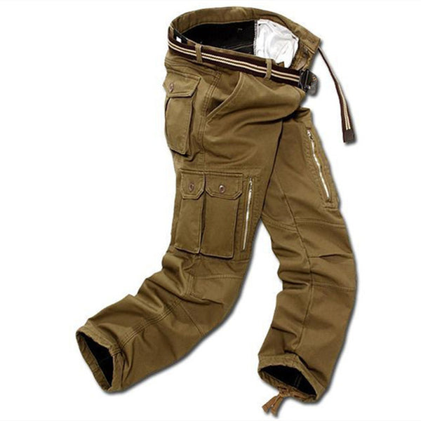 Men Cargo Pants with Multi Pockets and Warm inner fleece