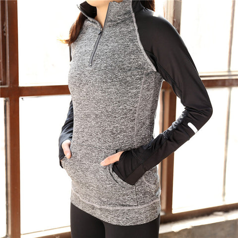 Women Fitness Long Sleeve Shirt With Front Zipper