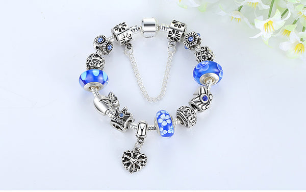 Women's Jewelry Silver Charms Bracelet & Bangles With Queen Crown Beads