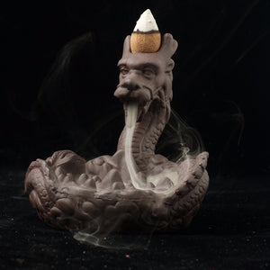 Dragon Ceramics Coarse Pottery Incense Burner Smoke Backflow