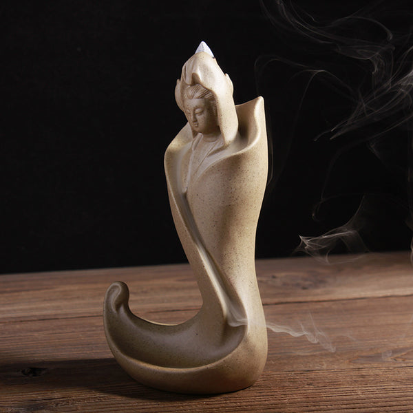 Guanyin Ceramics Coarse Pottery Incense Burner Smoke Backflow