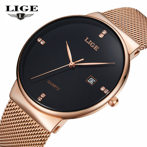 Luxury Brand Fashion Stainless Steel Mesh Strap Ultra Thin Water Resistance Men's Watches 9801