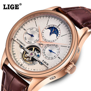Luxury Automatic Mechanical tourbillon Water Resistance Men's Watch with leather band 6826