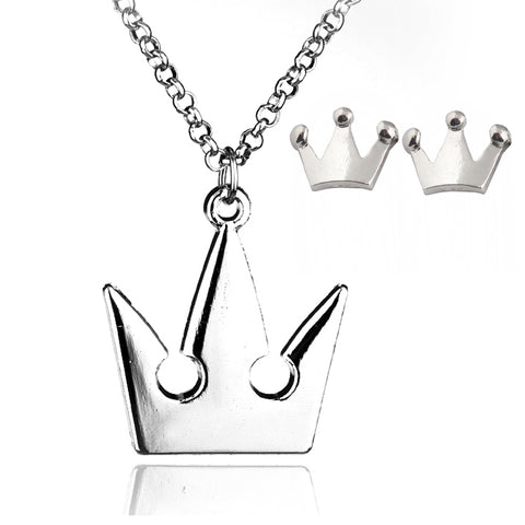 Silver Royal Crown Pendant Necklace