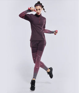 Stripe Lines Reflective Exercise Long Sleeve shirt with zipper