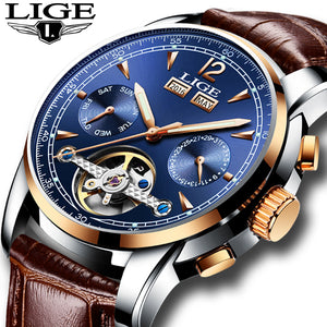 Luxruy Automatic Mechanical Water Resistance Men's Watch with Leather band 9803