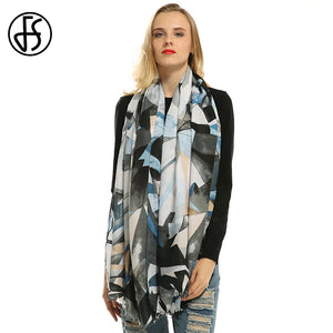 Luxury Diamond Geometry Print Silk Satin Shawl Scarf