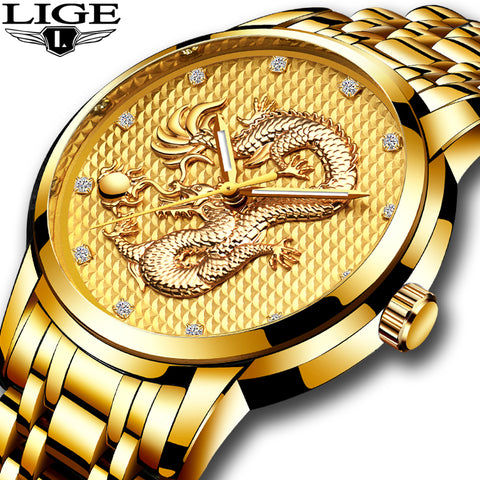 LIGE Mens Luxury Gold Dragon Sculpture Watches