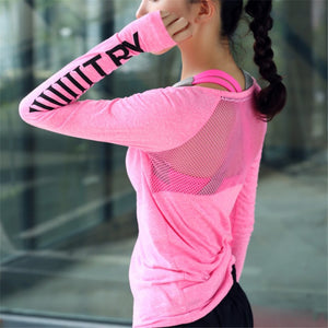 Women Fitness Long Sleeve Shirt With Back Mesh