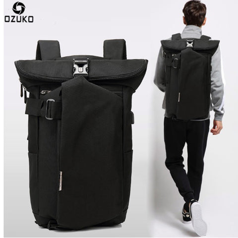 OZUKO Fashion Large Capacity 15.6 Inch Laptop high quality Man Backpack with USB port