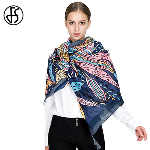 Luxury Leaves Vines Print Cotton Linen Scarf Shawl