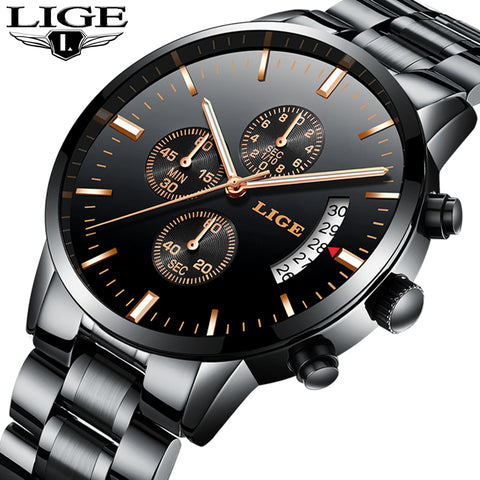 Luxury Chronograph Men Sports Water Resistant Full Steel Quartz Men's Watches 9827