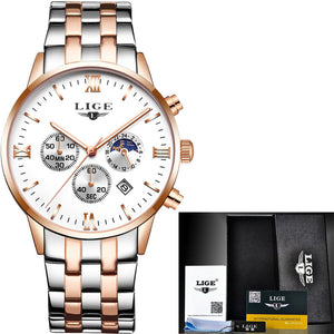 Luxury Brand Fashion Moon Phase full steel Water Resistance Quartz Men's Watches 9807