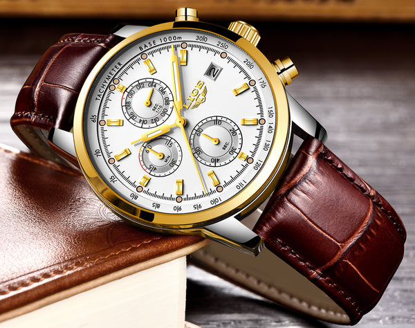 LIGE Luxury Mens Waterproof Watches Leather Band